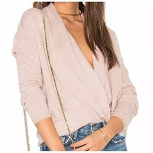 Joie Cashmere Faux Wrap Pullover Sweater Nude